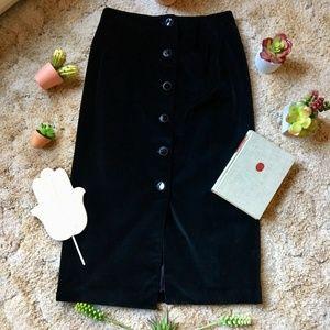 {Vintage} Black Velvet Button Front Maxi Skirt, 8